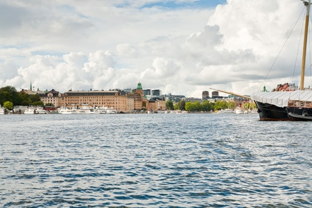 panorama of Stockholm, Sweden from sea side in autumn day