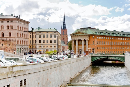 urban water canal and bridge in Stockholm, Sweden photo