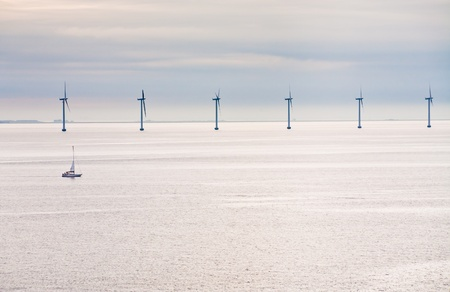 Middelgrunden - offshore wind farm near Copenhagen, Denmark at early morning photo