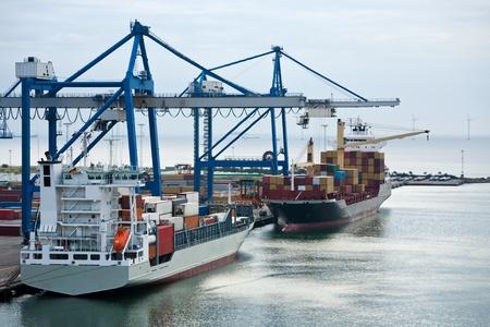 seaports: early morning in Copenhagen cargo seaport