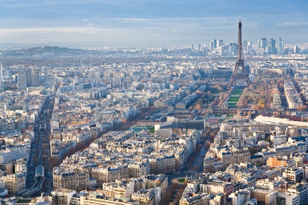 view on Eiffel Tower and panorama of Paris in winter afternoon Stock Photo