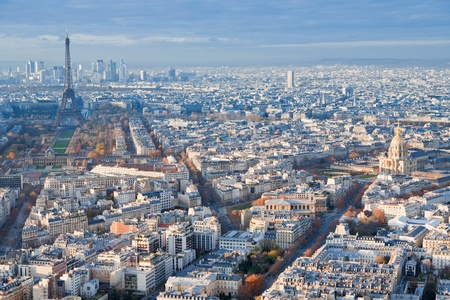 birds eye view: view on Eiffel Tower and panorama of Paris in winter day