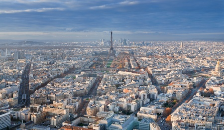 view on Eiffel Tower and panorama of Paris in winter afternoon Stock Photo - 11966963