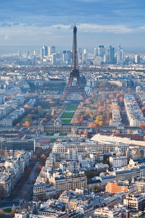 view on Eiffel Tower and panorama of Paris in winter afternoon photo