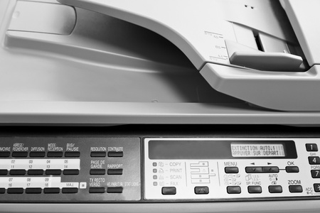 scaner: metal control panel of big copier close up