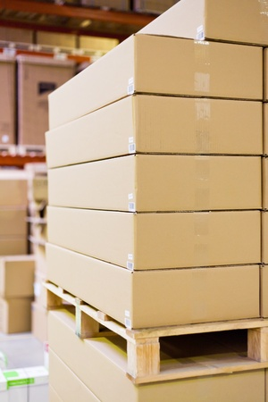 stockroom: carton boxes in storage warehouse  Stock Photo