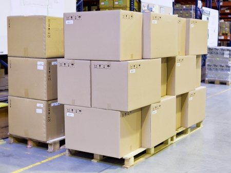 carton boxes in storage warehouse  photo