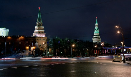 Towers of Moscow Kremlin at night, Russia