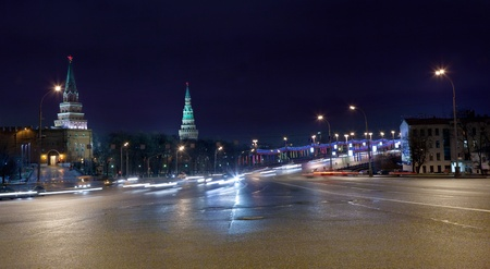view on Great Stone Bridge and towers of Kremlin in Moscow at night