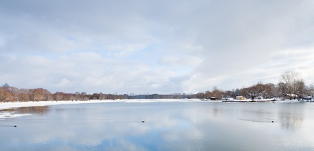 view on cold river and blue cloudy sky, Moscow photo