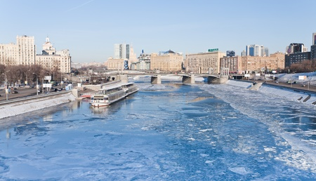 view on frozen Moscow river in sunny winter day on 29 January 2012