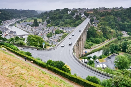 dinan: above view on town Dinan and river Rance, France Editorial