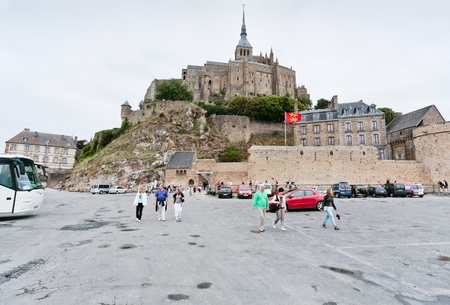 MONT SAINT-MICHEL, FRANCE - JULY 5: view on Mont Saint-Michel. Mont-Saint-Michel was used in the 6th and 7th centuries as an Armorican stronghold and first monastic building was establised in the 8th century, in France on July 5, 2010.