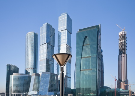 view on new Moscow City buildings in winter photo