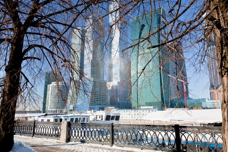 view on new Moscow City buildings in winter Stock Photo - 12415297