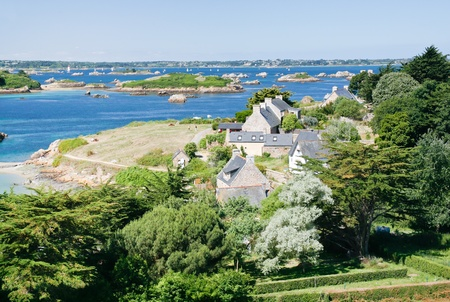 view on archipelago Brehat and Ile de Brehat in Brittany, France Stock Photo