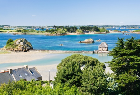 brittany: view on archipelago Brehat and Ile de Brehat in Brittany, France Stock Photo