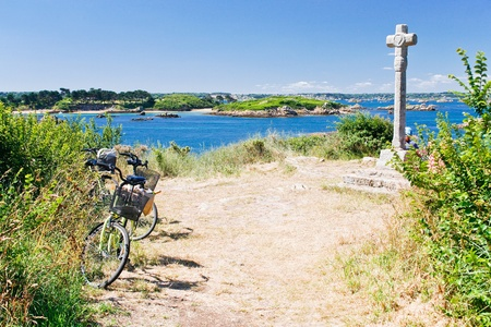 tourist bicycles on island Ile de Brehat in Brittany, France photo