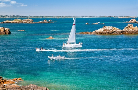Atlantic seacoast near Ile de Brehat, Brittany, France photo