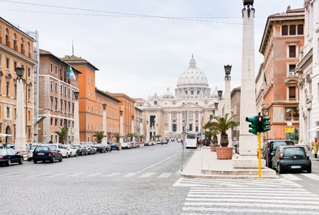 ROME, ITALY - DECEMBER 17: view on St.Peter Basilica from via Conciliazione. Construction of basilica began on 18 April 1506 and was completed on 18 November 1626. in Rome, Italy on December 17, 2010