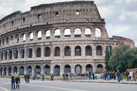 ROME, ITALY - DECEMBER 19: view on Colosseum.  It construction started in 72 AD under emperor Vespasian and was completed in 80 AD under Titus, in Rome, Italy on December 19, 2010