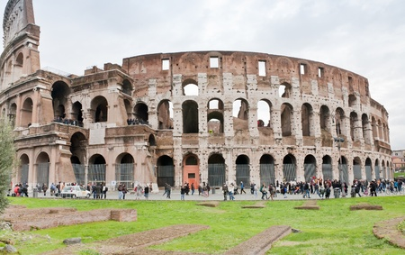 ROME, ITALY - DECEMBER 19: view on Coliseum.  It construction started in 72 AD under emperor Vespasian and was completed in 80 AD under Titus, in Rome, Italy on December 19, 2010