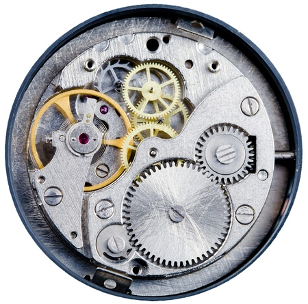 adjusting screw: mechanism of old mechanical watch close up