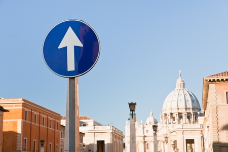 catholical: Road sign - direct to St Peter Basilica, Rome, Italy