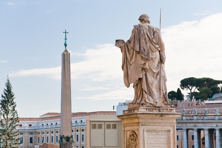 catholical: view Egyptian obelisk on St.Peter Square from Piazza Pio, Rome, Italy