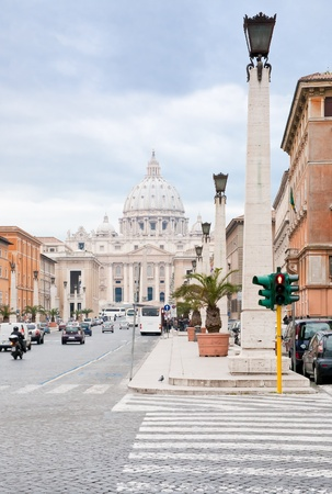 view on St.Peter Basilica from via Conciliazione in Rome, Italy on December 17, 2010