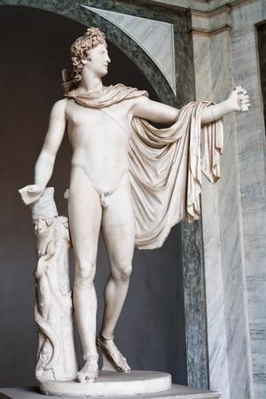 greek statue: Apollo statue in Vatican Museum, Rome, Italy