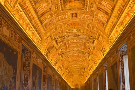geographical  maps Gallery in Papal Palace in Vatican, Italy photo