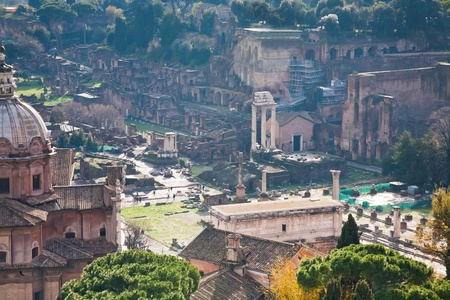 ruins on Capitoline Hill in Rome, Italy photo
