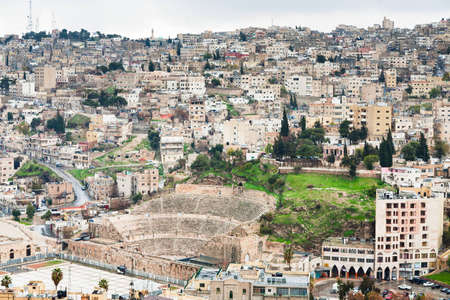 view on  ancient Roman theater in Amman , Jordan photo