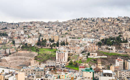 view on  ancient Roman theater in Amman, Jordan photo