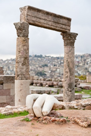 Hercules hand near Temple of Hercules in antique citadel in Amman, Jordan photo
