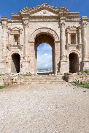 hadrian: Arch of Hadrian in antique Greco-Roman city of Gerasa Jerash in Jordan