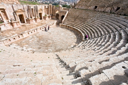 greco roman: the Large South Theatre - in antique town Jerash, Jordan Stock Photo