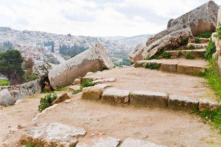 ancient roman ruin in antique town Jerash, Jordan photo