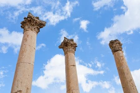 Corinthium column in antique town Jerash, Jordan