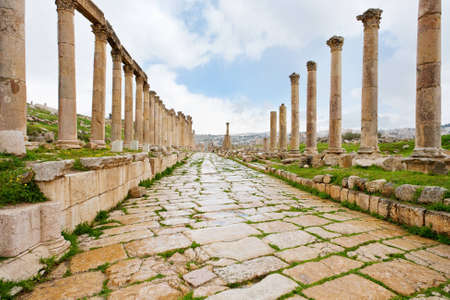 greco:  long colonnaded street or cardo in antique town Jerash in Jordan