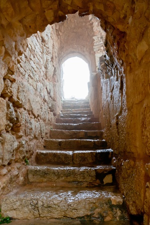 entrance in medieval Ajlun Castle in foggy day, Jordan photo