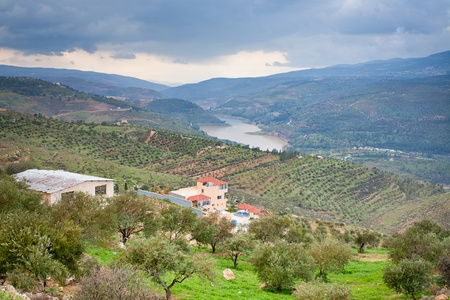 panorama of mountain valley and river in Jordan photo