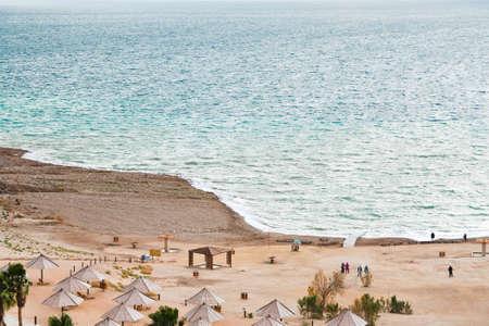 sand beach on Dead Sea coast in Jordan photo