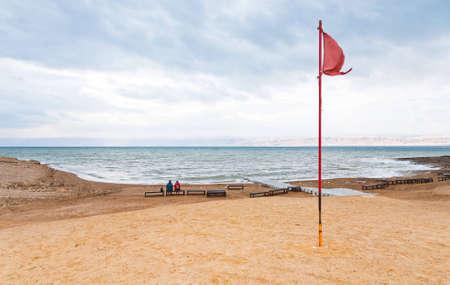 sand beach of Dead Sea coast in Jordan photo