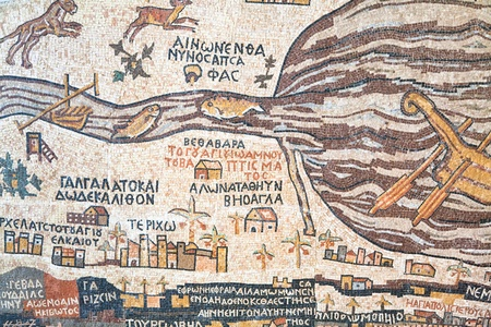 depiction: mosaic replica of antique Madaba map of Holy Land