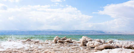 crystalline salt on beach of Dead Sea, Jordan photo