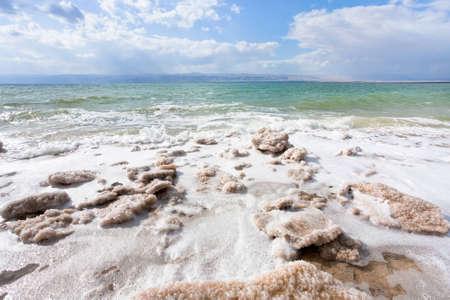 crystalline salt on beach of Dead Sea, Jordan photo