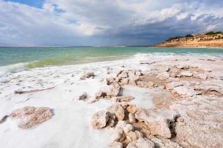 dead sea: crystal salt beach on Dead Sea coast, Jordan