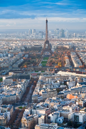 view on Eiffel Tower and panorama of Paris afternoon